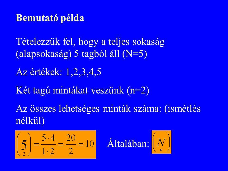 Bemutató példa Tételezzük fel, hogy a teljes sokaság (alapsokaság) 5 tagból áll (N=5) Az értékek: 1,2,3,4,5.