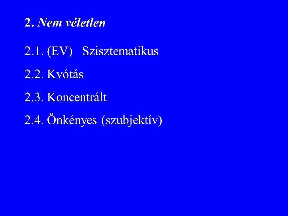 2. Nem véletlen 2.1. (EV) Szisztematikus 2.2. Kvótás 2.3. Koncentrált 2.4. Önkényes (szubjektív)