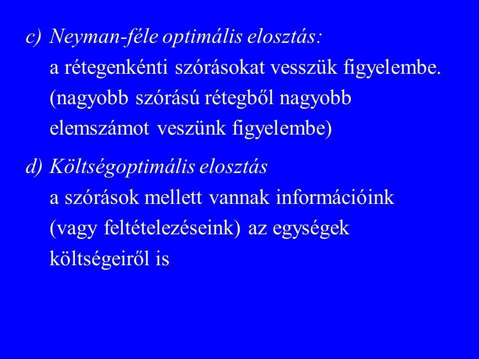 Neyman-féle optimális elosztás: a rétegenkénti szórásokat vesszük figyelembe. (nagyobb szórású rétegből nagyobb elemszámot veszünk figyelembe)