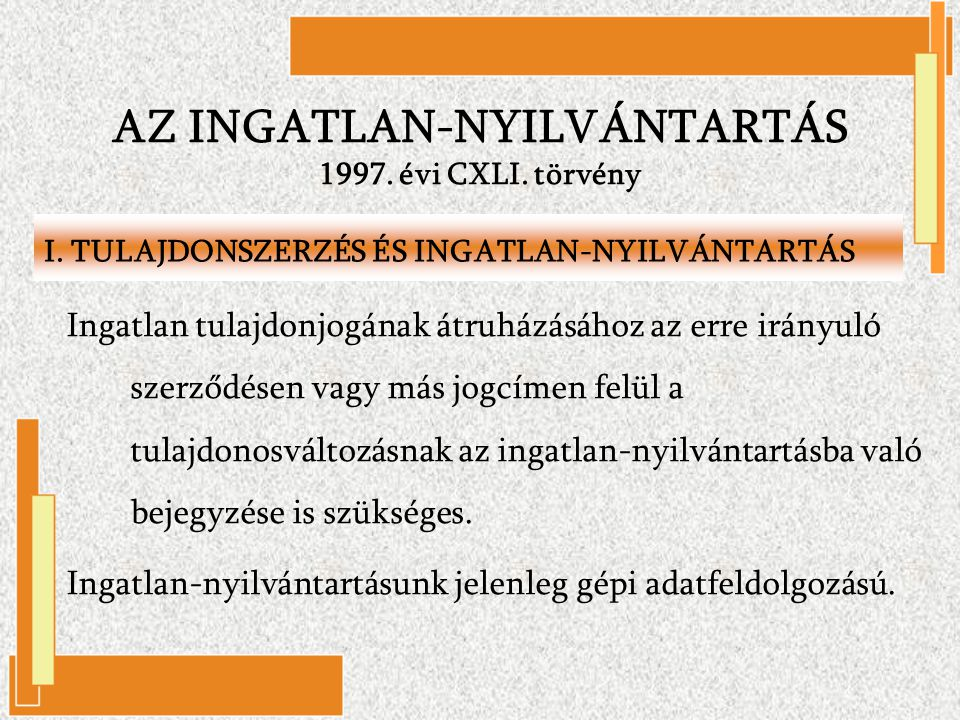 AZ INGATLAN-NYILVÁNTARTÁS 1997. évi CXLI. törvény
