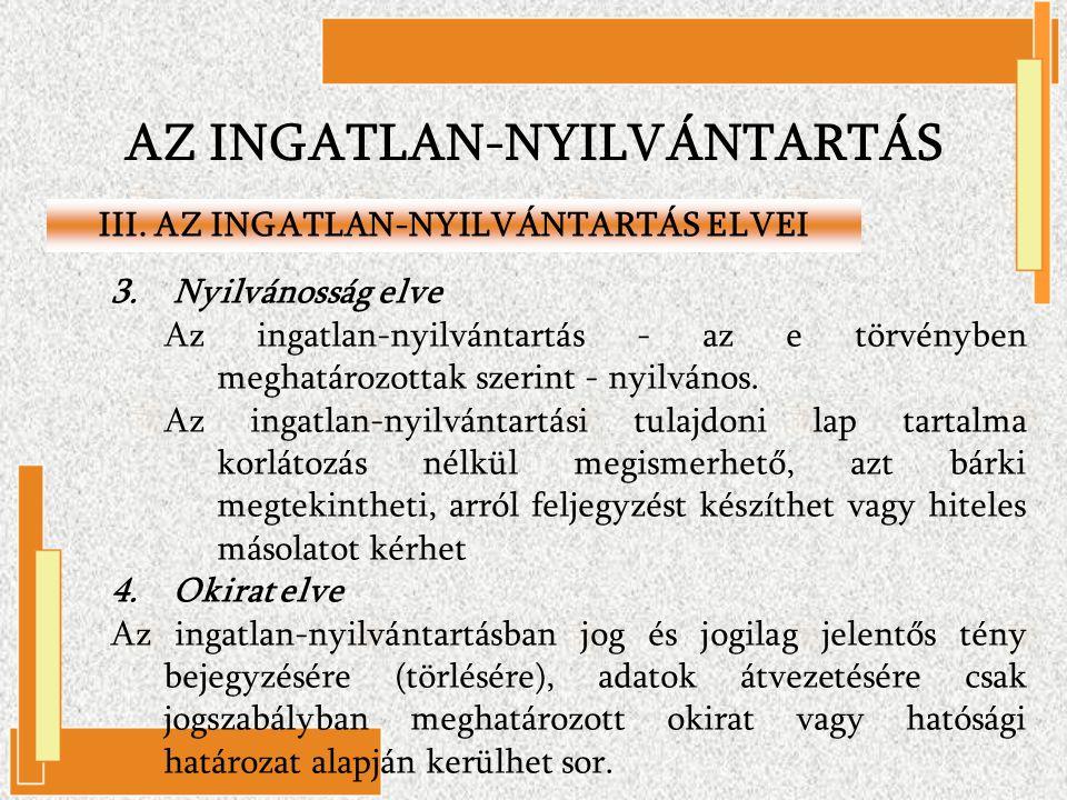 AZ INGATLAN-NYILVÁNTARTÁS