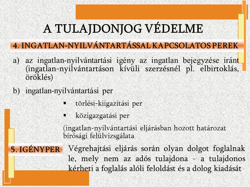 A TULAJDONJOG VÉDELME 4. INGATLAN-NYILVÁNTARTÁSSAL KAPCSOLATOS PEREK