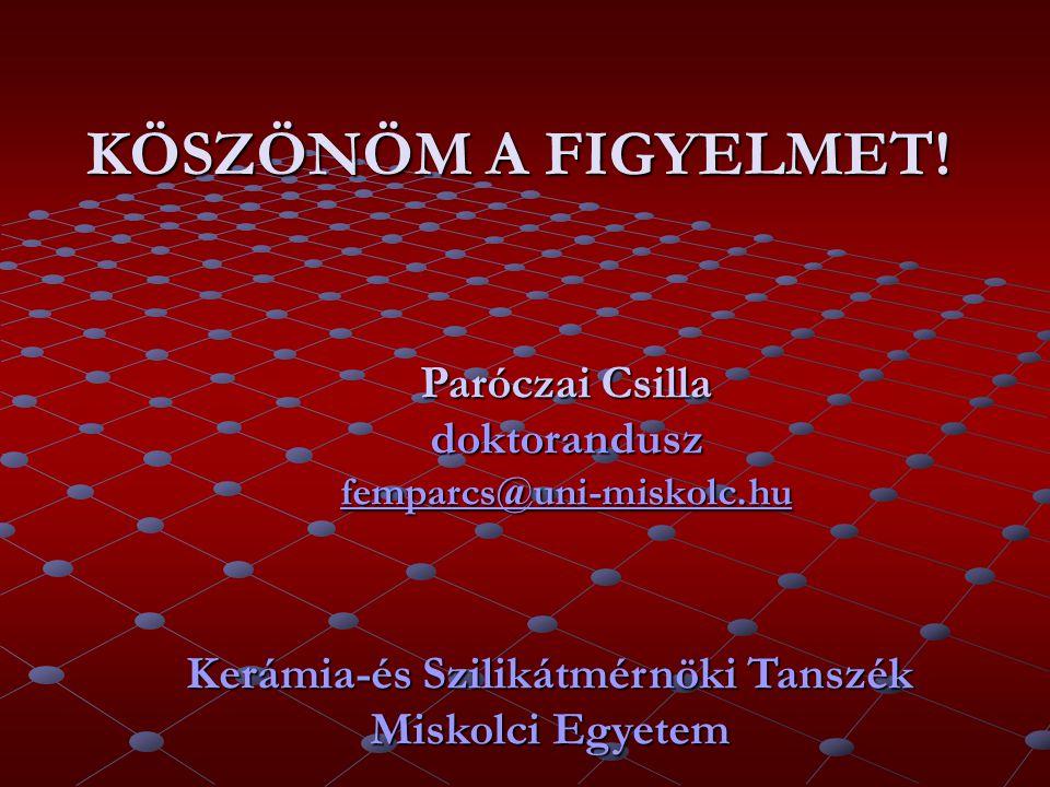 KÖSZÖNÖM A FIGYELMET. Paróczai Csilla doktorandusz femparcs@uni-miskolc.hu.