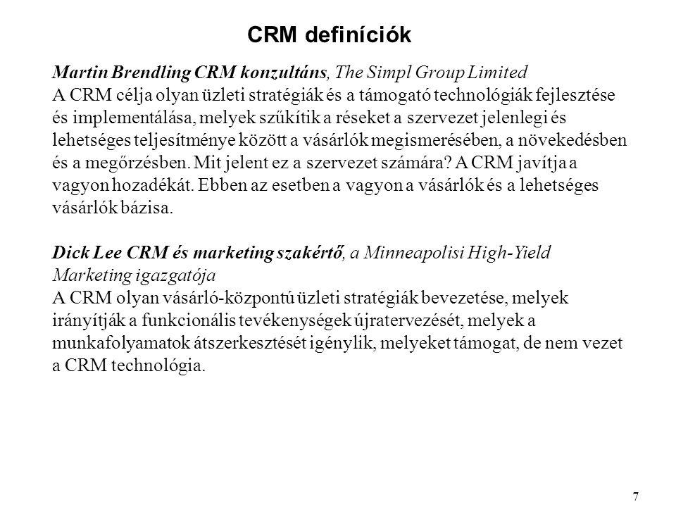 CRM definíciók Martin Brendling CRM konzultáns, The Simpl Group Limited.