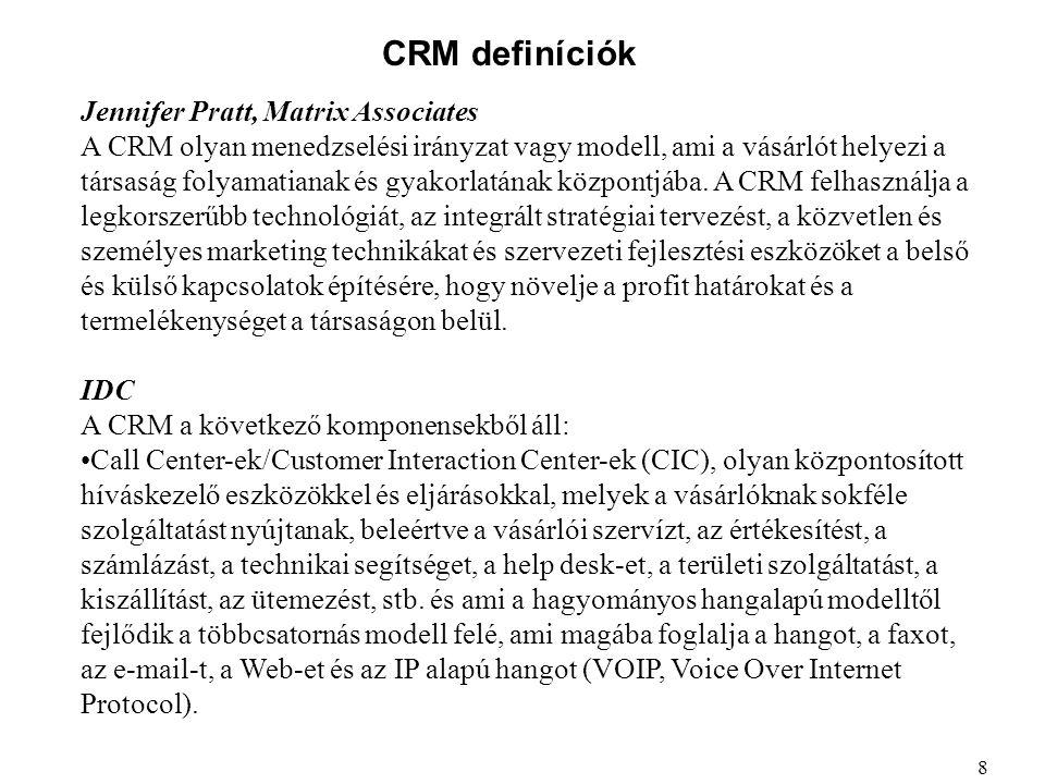 CRM definíciók Jennifer Pratt, Matrix Associates