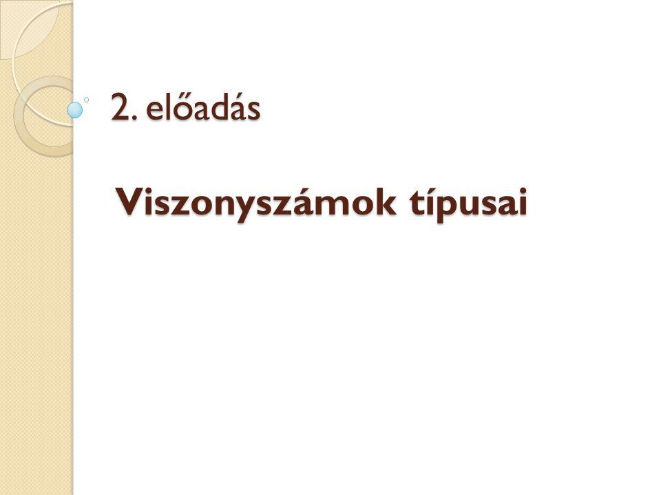 2. előadás Viszonyszámok típusai