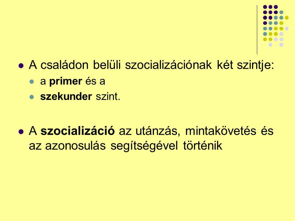 A családon belüli szocializációnak két szintje: