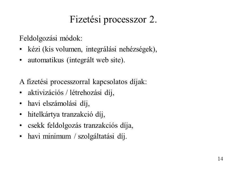 Fizetési processzor 2. Feldolgozási módok: