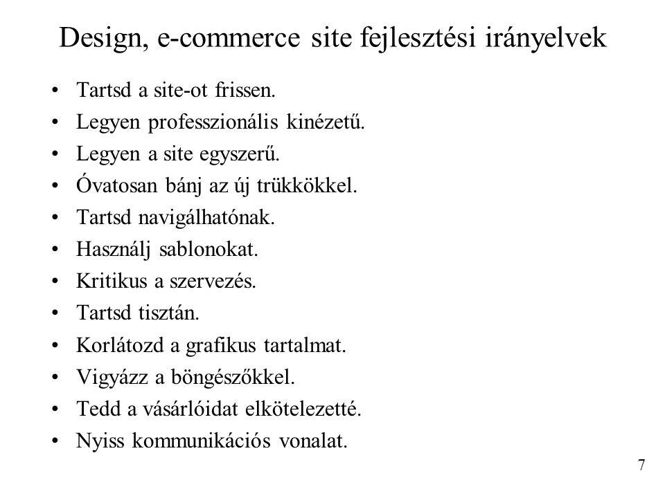 Design, e-commerce site fejlesztési irányelvek
