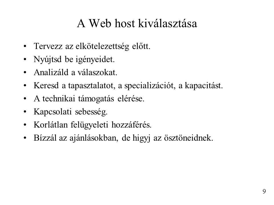 A Web host kiválasztása