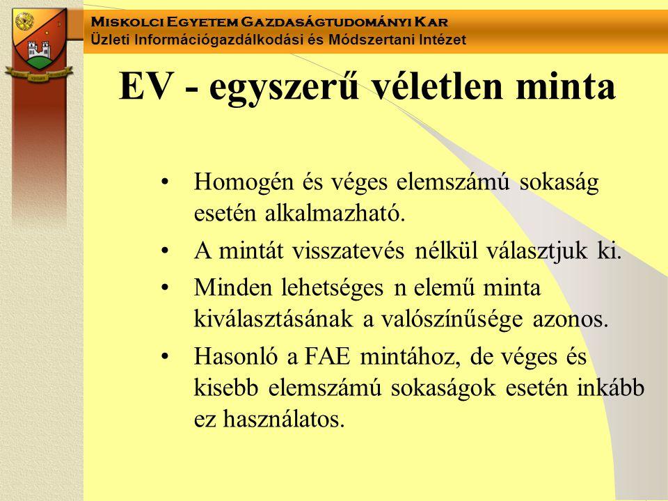 EV - egyszerű véletlen minta
