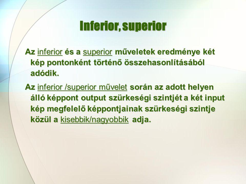 Inferior, superior Az inferior és a superior műveletek eredménye két kép pontonként történő összehasonlításából adódik.