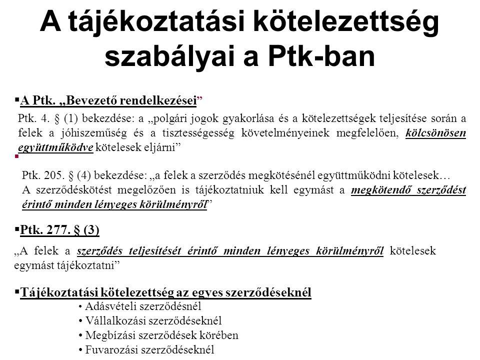 A tájékoztatási kötelezettség szabályai a Ptk-ban