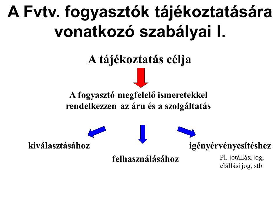 A Fvtv. fogyasztók tájékoztatására vonatkozó szabályai I.