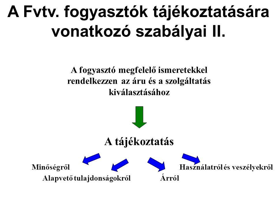 A Fvtv. fogyasztók tájékoztatására vonatkozó szabályai II.