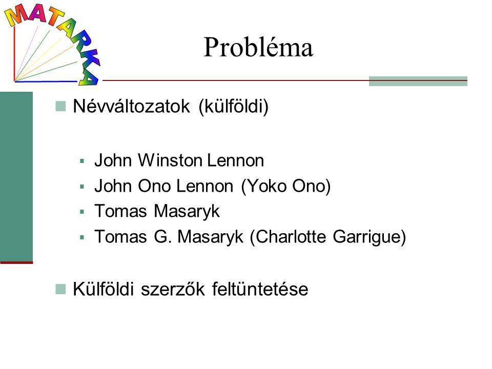 Probléma Névváltozatok (külföldi) Külföldi szerzők feltüntetése