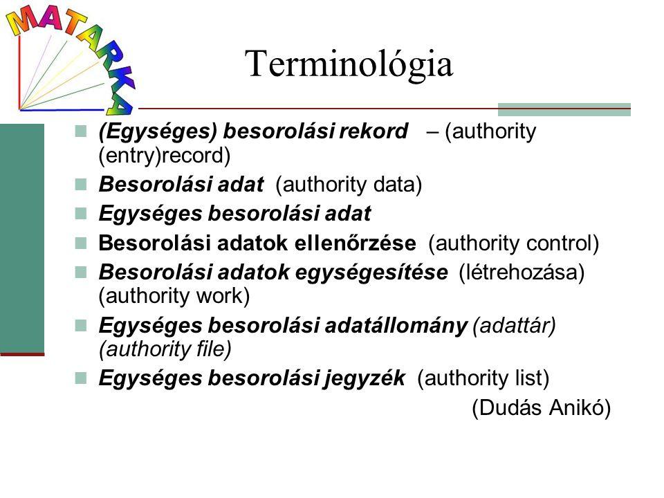 Terminológia (Egységes) besorolási rekord – (authority (entry)record)