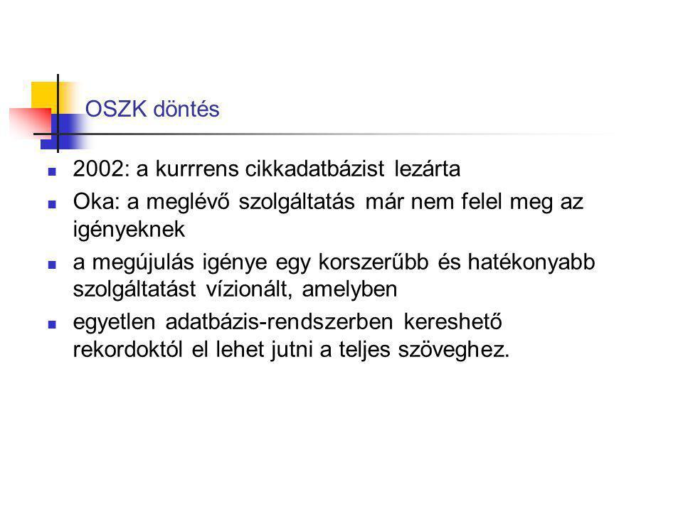 OSZK döntés 2002: a kurrrens cikkadatbázist lezárta. Oka: a meglévő szolgáltatás már nem felel meg az igényeknek.