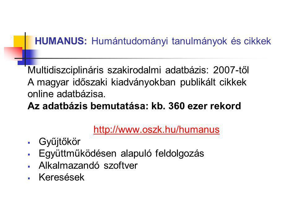 HUMANUS: Humántudományi tanulmányok és cikkek