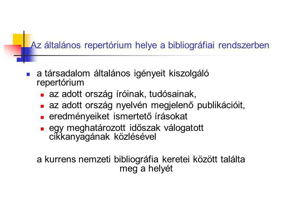 Az általános repertórium helye a bibliográfiai rendszerben