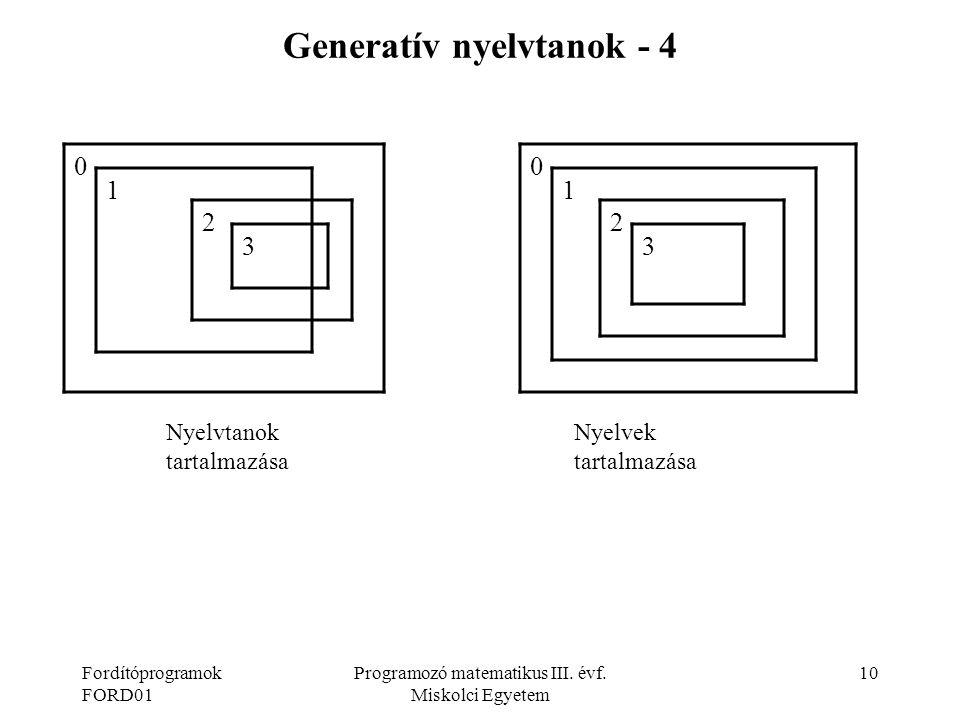 Generatív nyelvtanok - 4