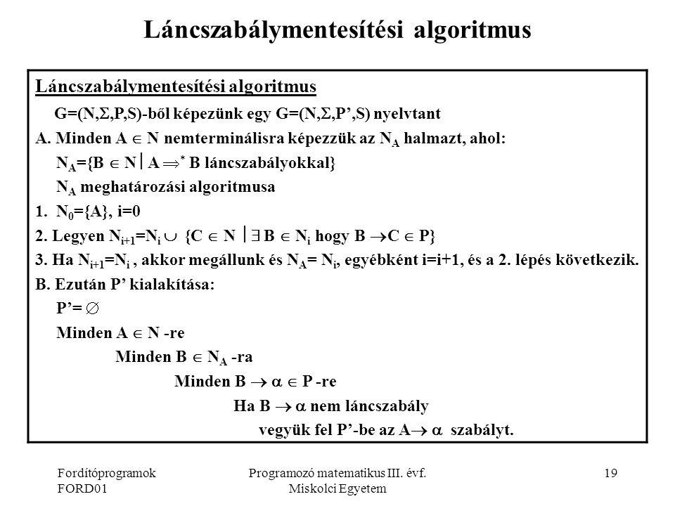 Láncszabálymentesítési algoritmus