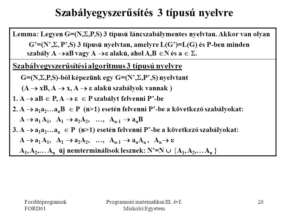 Szabályegyszerűsítés 3 típusú nyelvre
