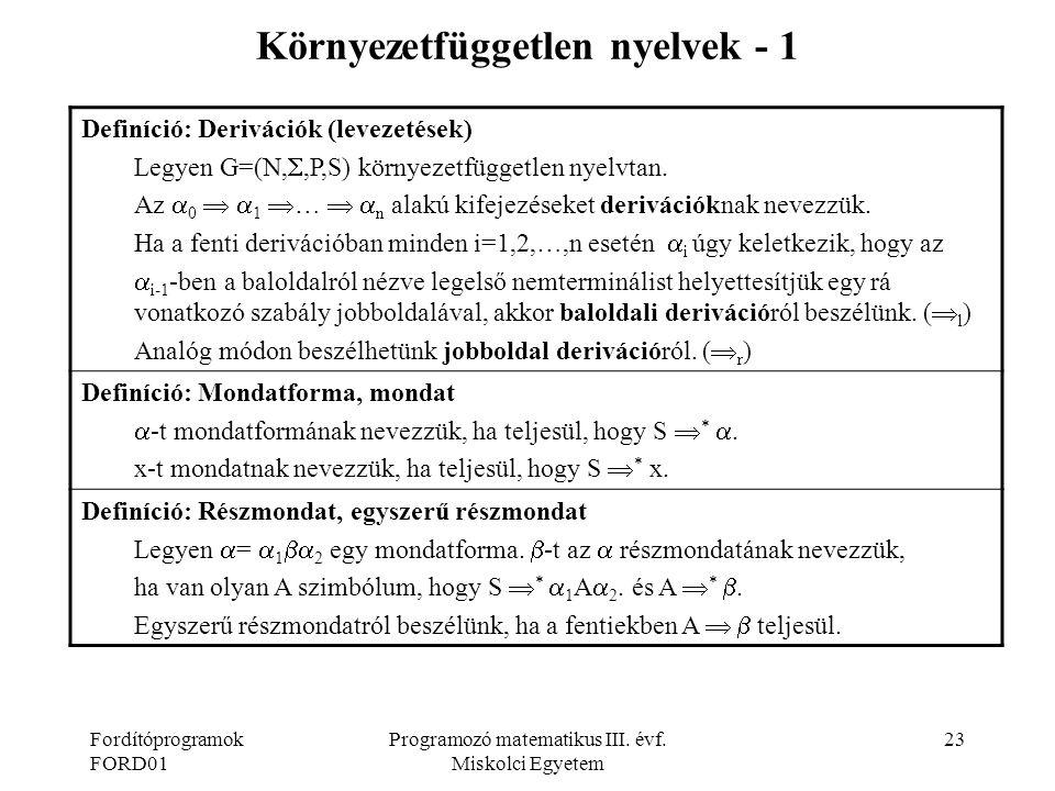 Környezetfüggetlen nyelvek - 1