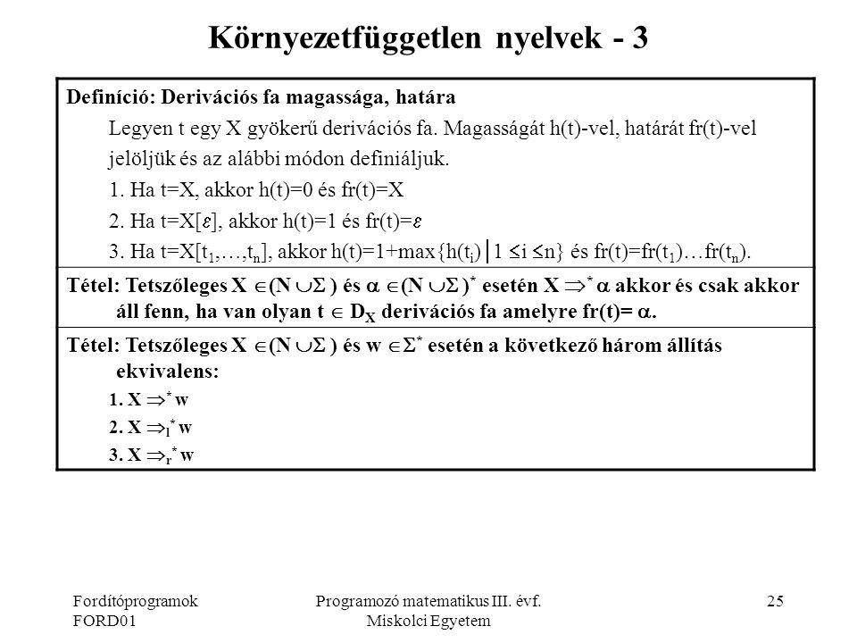Környezetfüggetlen nyelvek - 3