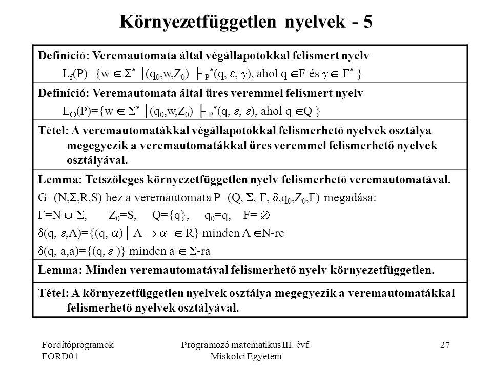 Környezetfüggetlen nyelvek - 5