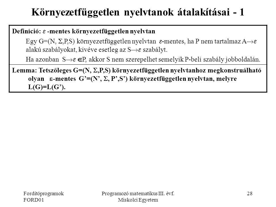 Környezetfüggetlen nyelvtanok átalakításai - 1