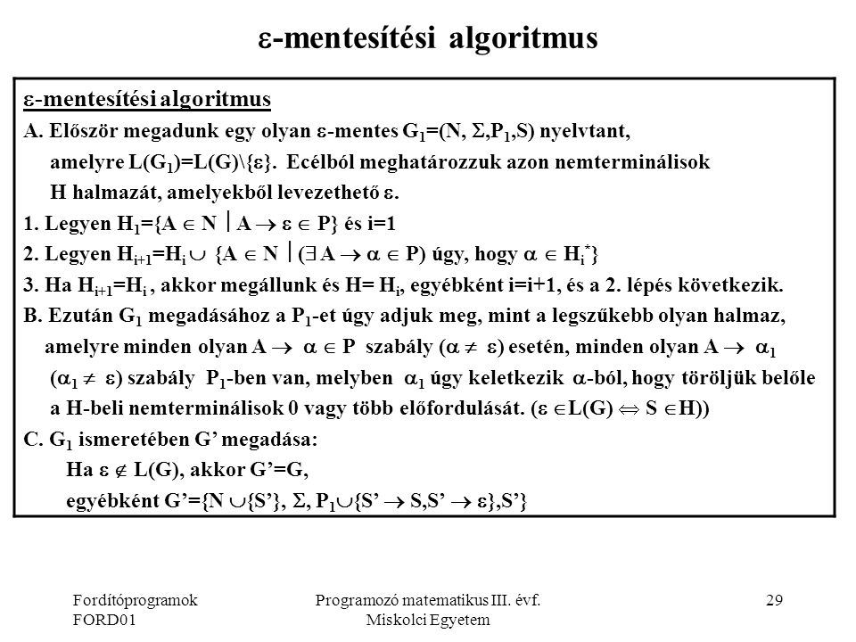 -mentesítési algoritmus