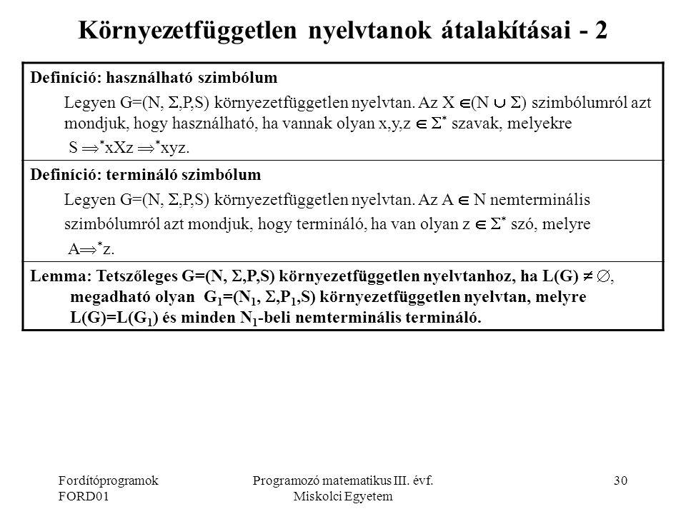 Környezetfüggetlen nyelvtanok átalakításai - 2