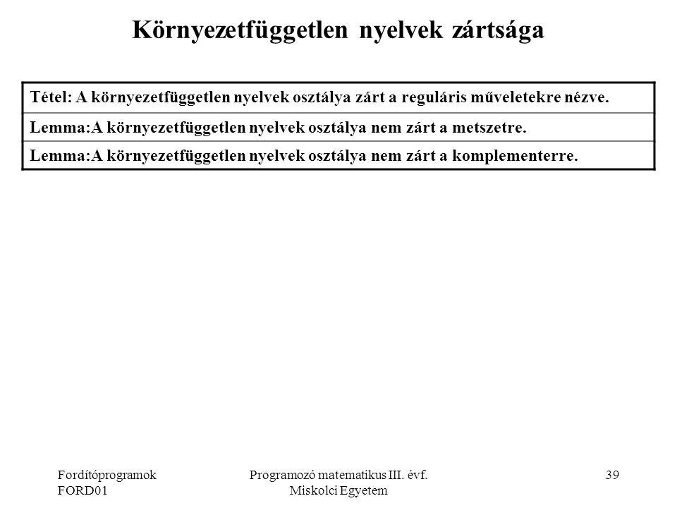 Környezetfüggetlen nyelvek zártsága
