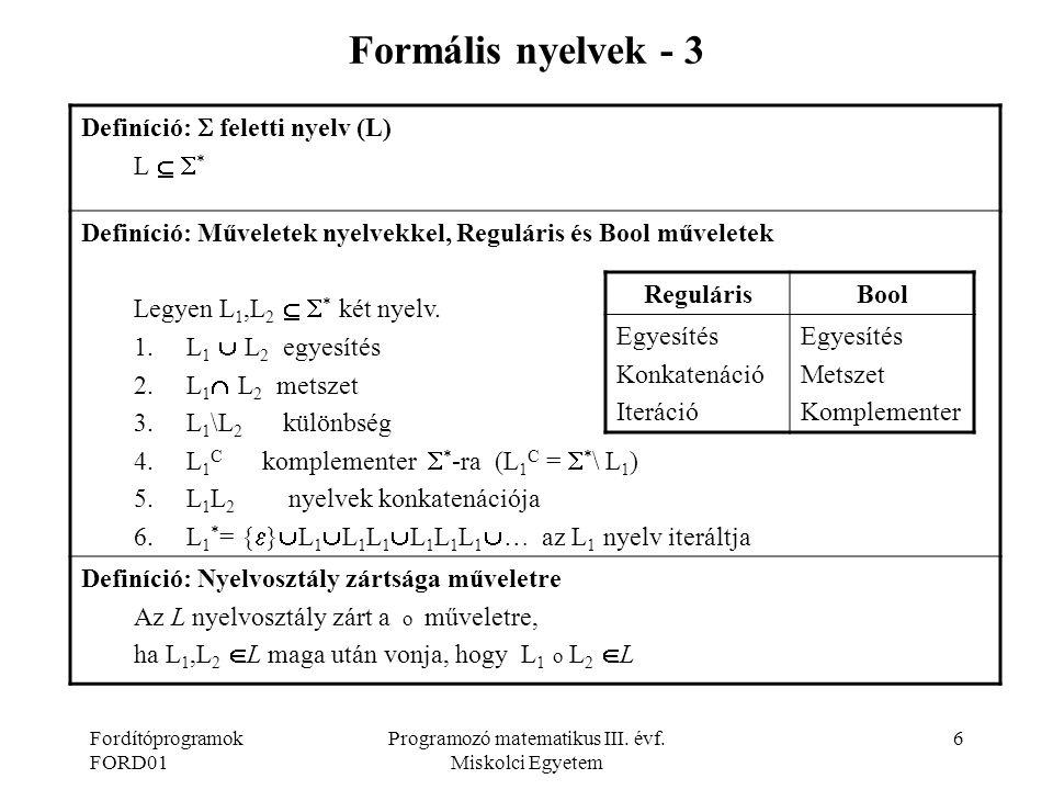Programozó matematikus III. évf. Miskolci Egyetem
