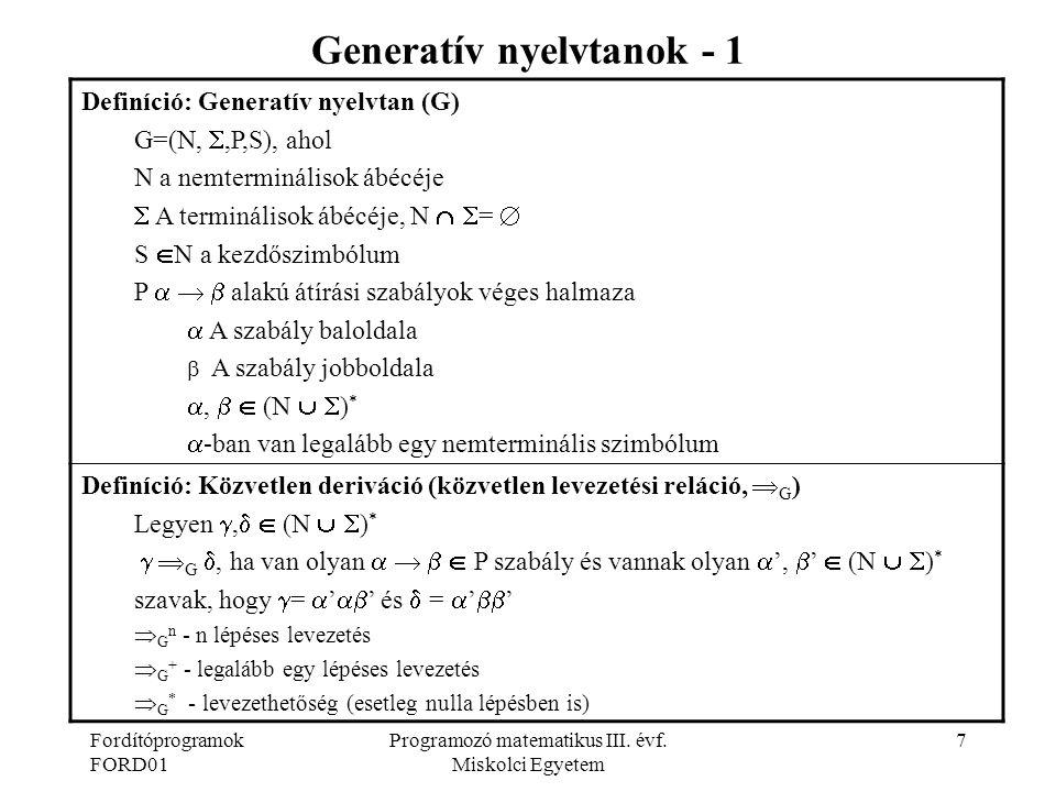Generatív nyelvtanok - 1