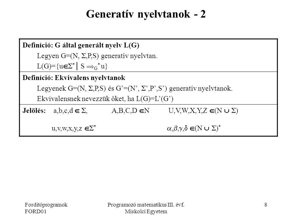 Generatív nyelvtanok - 2