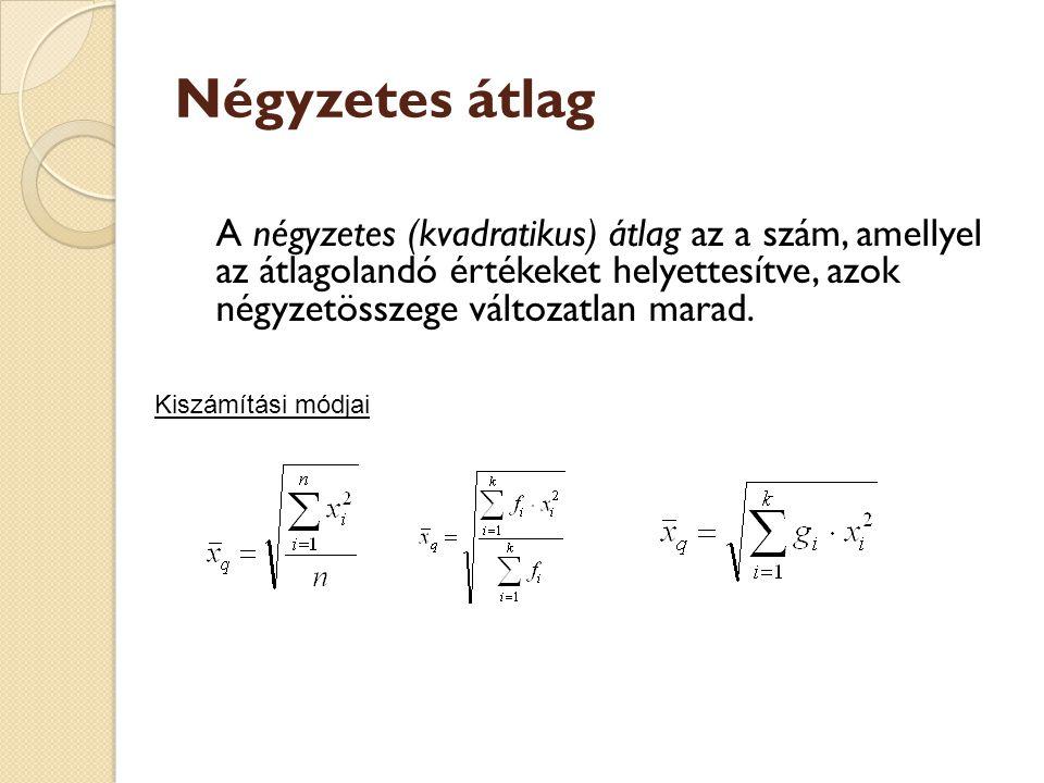 Négyzetes átlag A négyzetes (kvadratikus) átlag az a szám, amellyel az átlagolandó értékeket helyettesítve, azok négyzetösszege változatlan marad.
