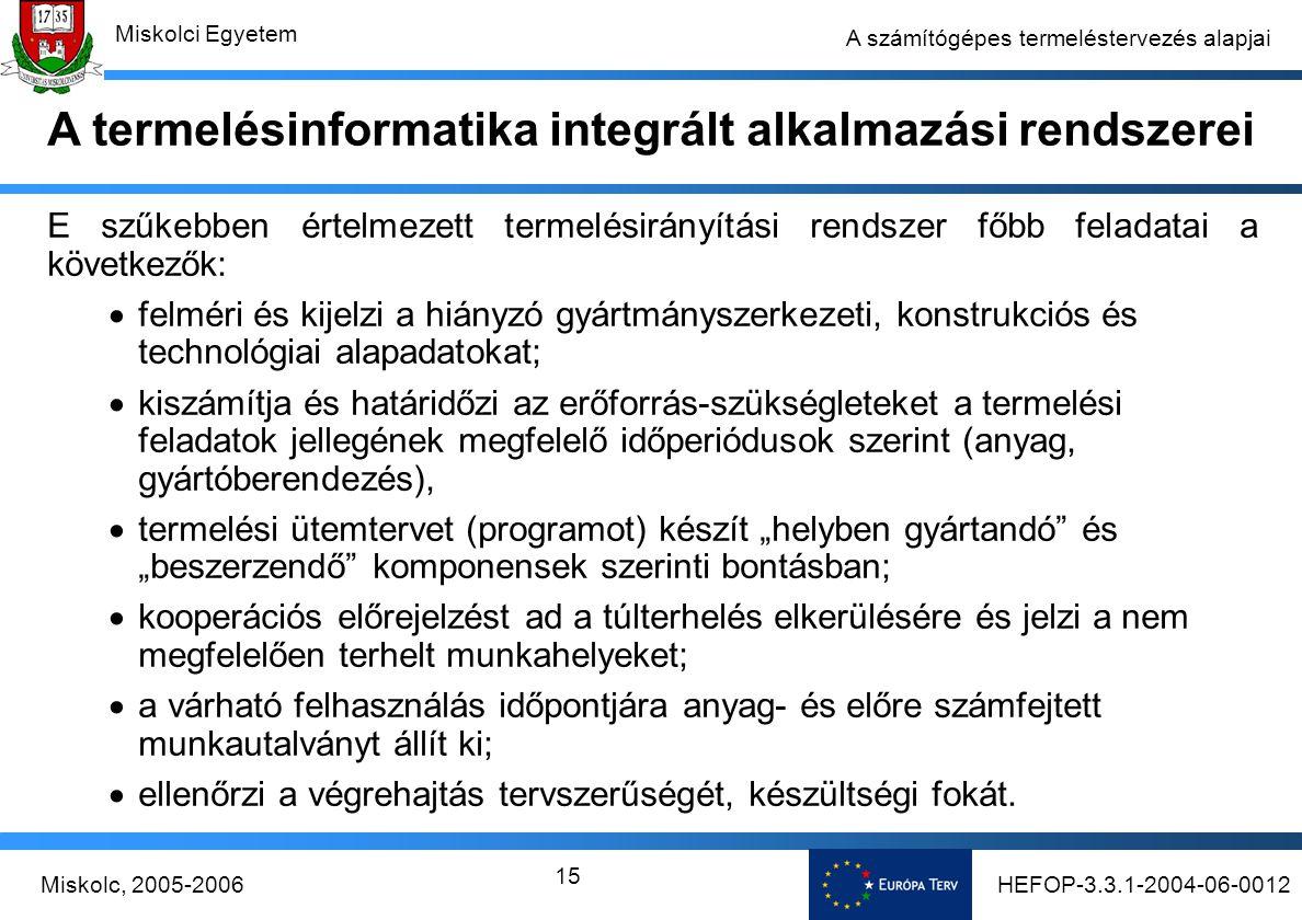 A termelésinformatika integrált alkalmazási rendszerei
