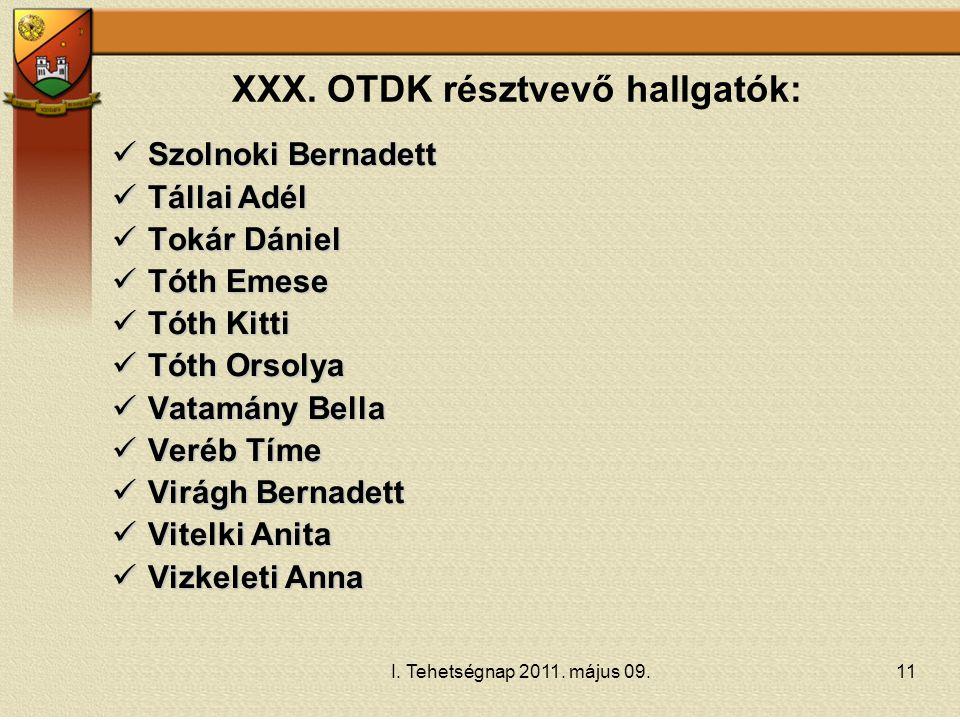 XXX. OTDK résztvevő hallgatók:
