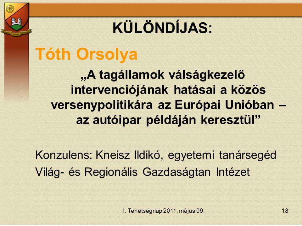 Tóth Orsolya KÜLÖNDÍJAS: