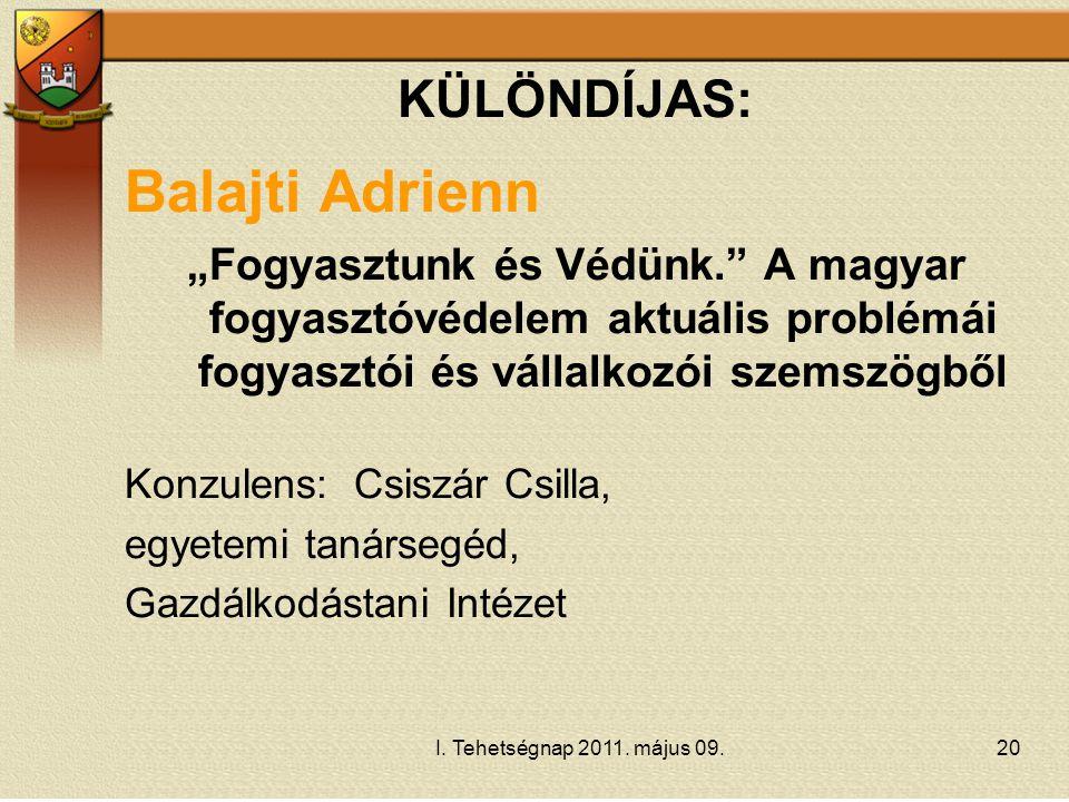 Balajti Adrienn KÜLÖNDÍJAS: