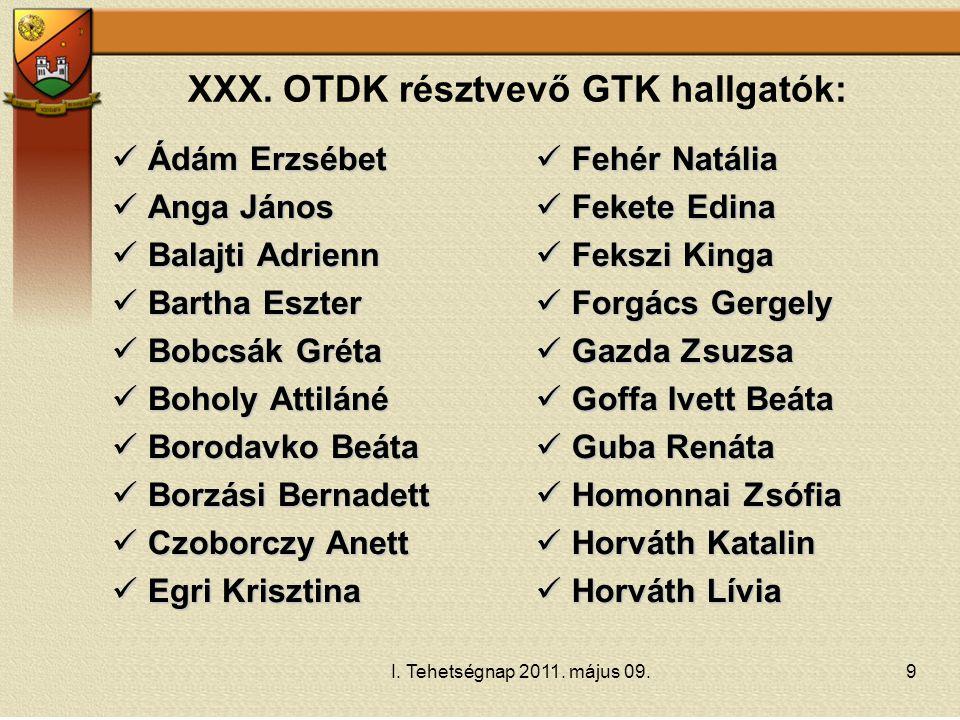 XXX. OTDK résztvevő GTK hallgatók: