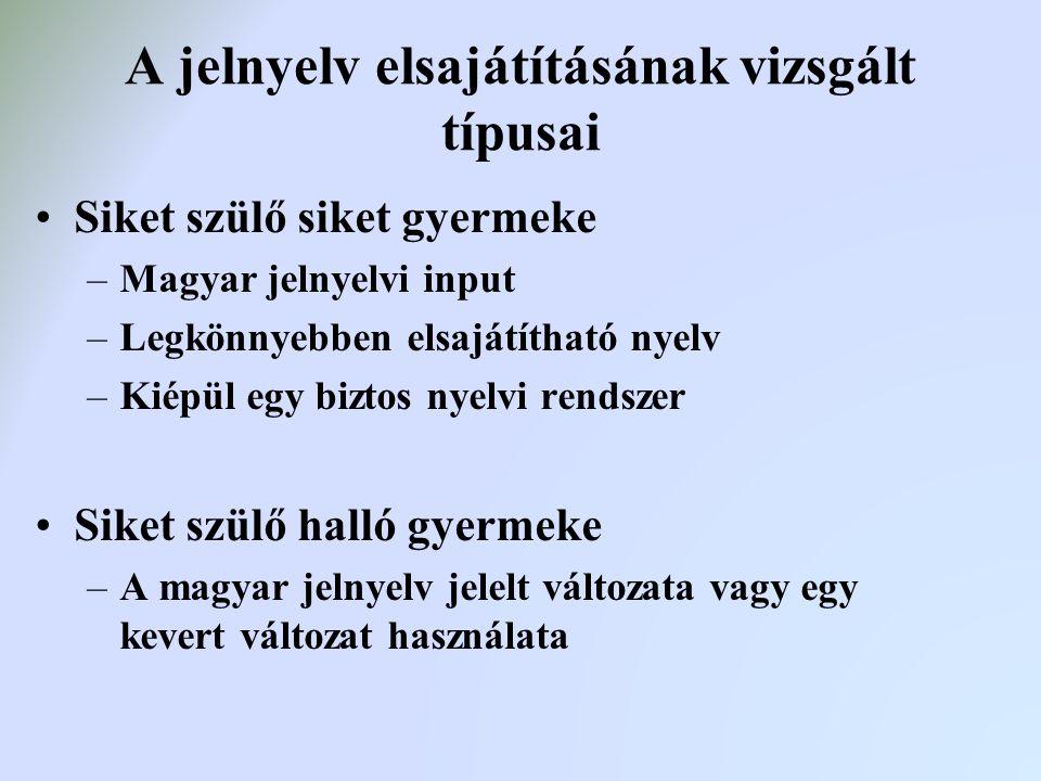 A jelnyelv elsajátításának vizsgált típusai