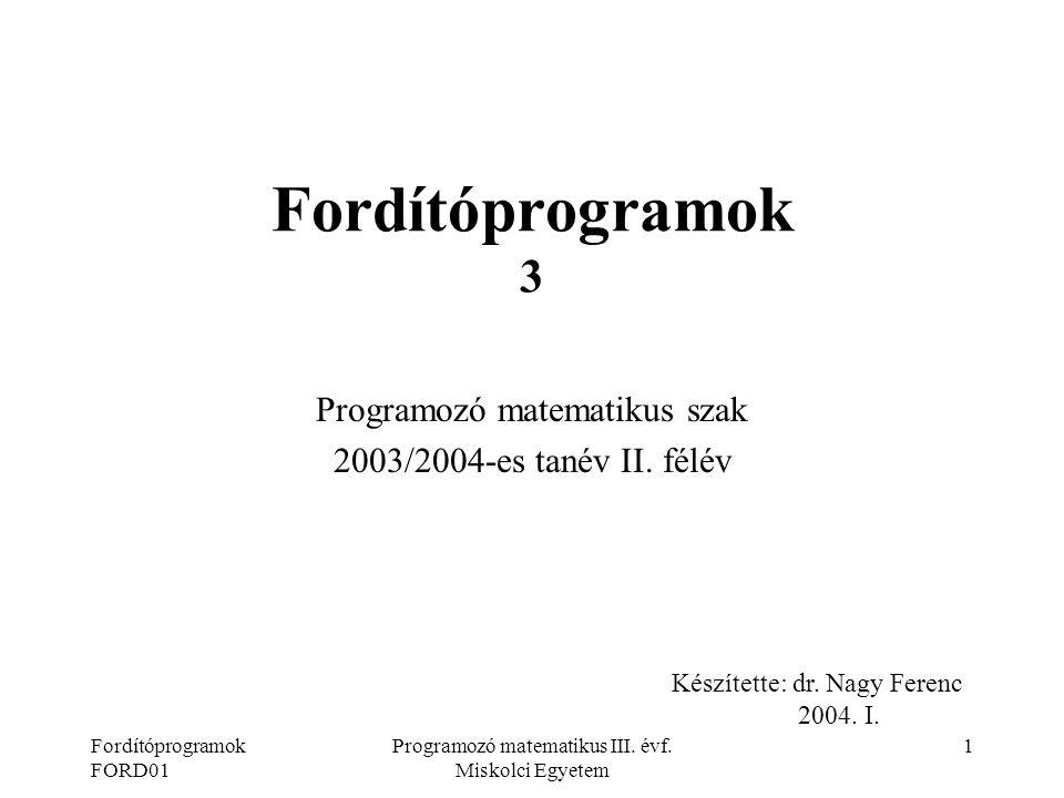 Programozó matematikus szak 2003/2004-es tanév II. félév