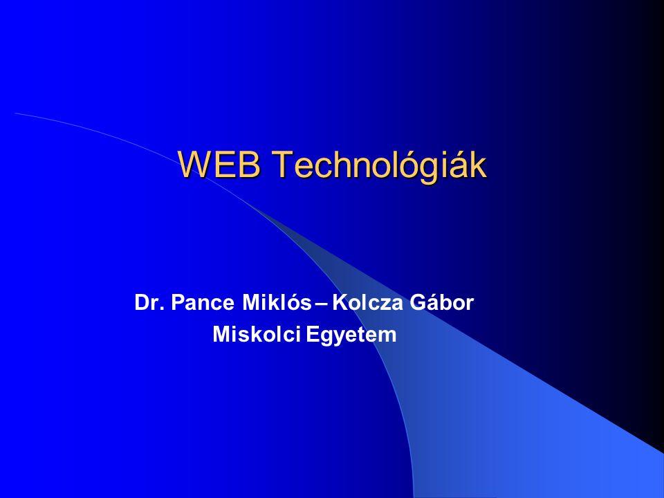 Dr. Pance Miklós – Kolcza Gábor Miskolci Egyetem
