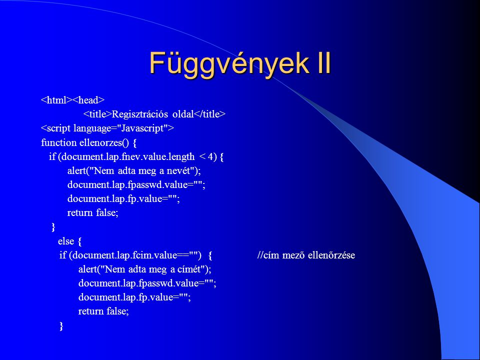 Függvények II <html><head>