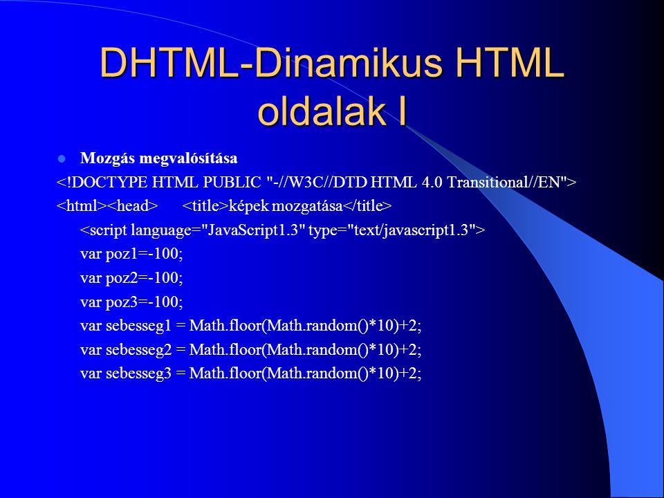 DHTML-Dinamikus HTML oldalak I