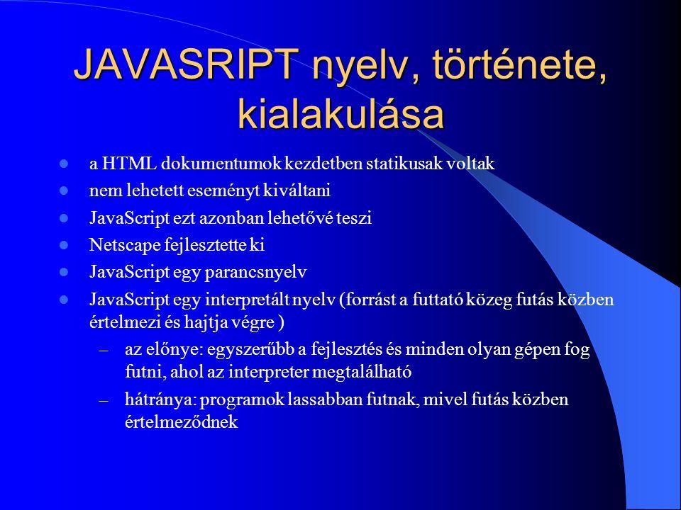 JAVASRIPT nyelv, története, kialakulása