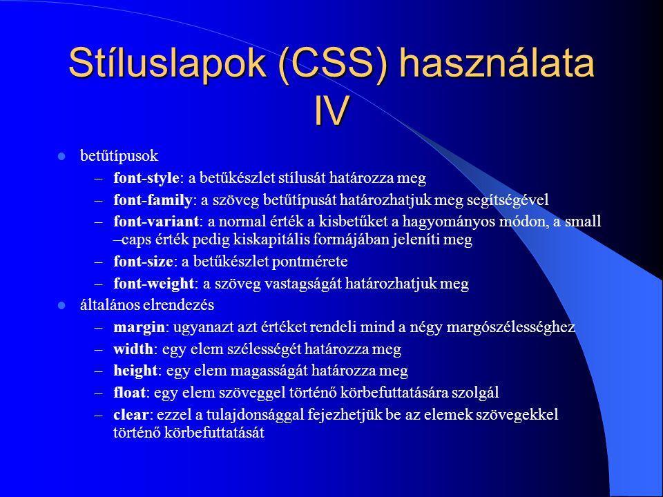 Stíluslapok (CSS) használata IV